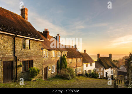 Gold Hill, Shaftesbury, Bathed In Winter Sunshine. - Stock Photo