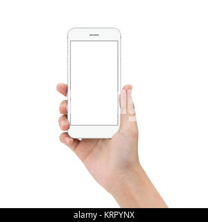 close up hand hold phone isolated on white, mock-ups phone white color blank screen - Stock Photo