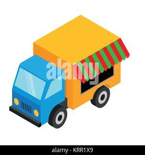 Isometric food van - illustration on white background - Stock Photo