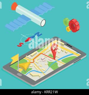 Illustration of GPS in mobile phone showing route map - isometric illustration - Stock Photo