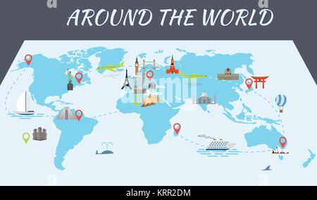 Illustration of vector flat design postcard with famous world landmarks icons on the map - Stock Photo