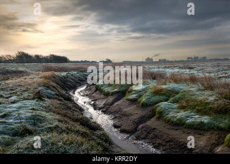 Burrows Marsh near Stalmine on the River Wyre Estuary - Stock Photo