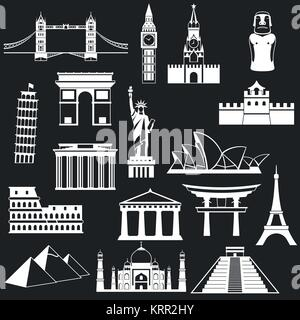 World famous buildings abstract silhouettes - vector icon set - Stock Photo