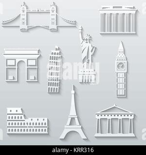 World landmarks, abstract flat paper icons set - Big Ben, Tower Bridge, The Statue of Liberty, Leaning Tower, Eiffel, - Stock Photo