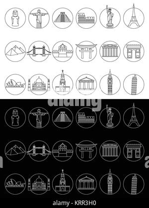 Popular travel landmarks icons - vector set of thin line monuments symbols or logo elements - Stock Photo