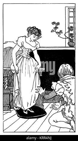 Cinderella trying on slipper, illustration by English artist and designer Robert Anning Bell, J M Dent & Co, London - Stock Photo