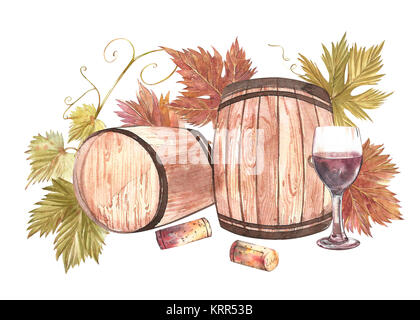 Wooden barrels and glasses of wine and leaves of grapes, isolated on white. Hand drawn watercolor illustration. - Stock Photo