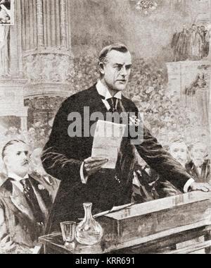 The inaugural speech of Joseph Chamberlain in Glasgow, Scotland, 1903.  Joseph Chamberlain, 1836 –1914.   British - Stock Photo