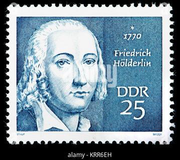 East German (DDR) postage stamp (1970): Friedrich Holderlin (1770 – 1843) German poet - Stock Photo
