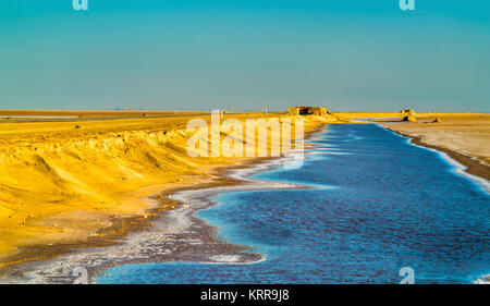 Chott el Djerid, an endorheic salt lake in Tunisia - Stock Photo