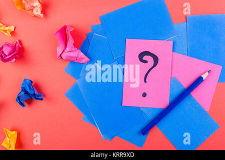 Concept in search ideas. Creased paper of idea. Falt lay. - Stock Photo