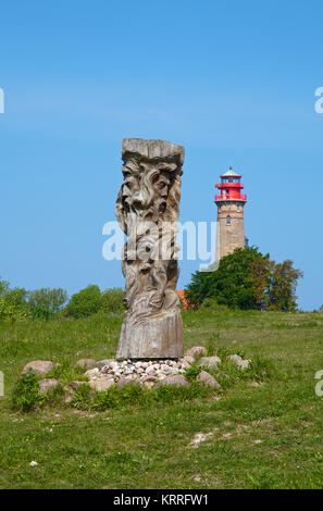 Svantovit, slavic god sculpture at the slavic castle, new lighthouse at Cape Arkona, North cape, Ruegen island, - Stock Photo