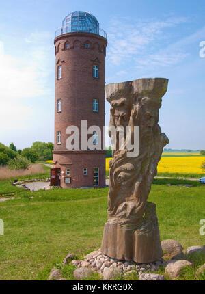 Svantovit, slavic god sculpture at the slavic castle, bearing tower, Cape Arkona, North cape, Ruegen island, Mecklenburg - Stock Photo