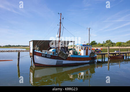 Fishing cutter at the harbour of village Kloster, Hiddensee island, Mecklenburg-Western Pomerania, Baltic Sea, Germany, Europe