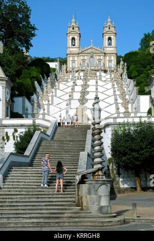 Stairway leading up to Bom Jesus do Monte, Tenoes, Braga, Portugal - Stock Photo