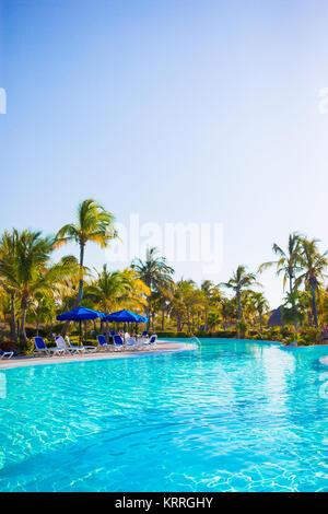 ... Beautiful Luxury Landscape Around Swimming Pool In Hotel Resort   Stock  Photo
