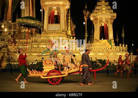 Khon performance high art dance show in front of King Rama IX Crematorium pyre site.  Thailand, Bangkok, December - Stock Photo
