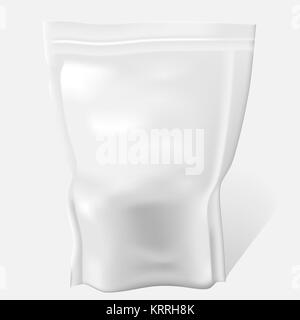 White Blank Food Bag Package. Vector Illustration pouch packaging Isolated. Foil Food Or Drink Doy pack template. - Stock Photo