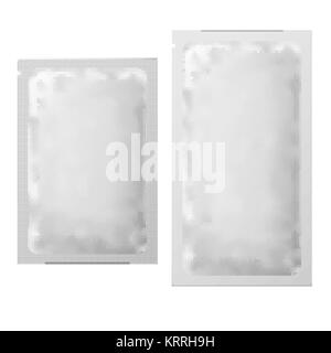 Food packaging Coffee, Salt, Sugar, Pepper, Sweets and other food. Realistic White Blank template Packaging Foil - Stock Photo