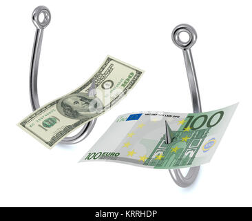 two fish hooks with banknotes - Stock Photo