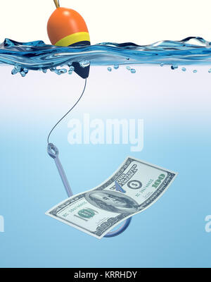 fish hook with a banknote - Stock Photo