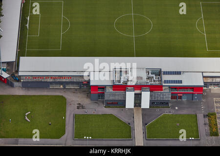 An aerial view of Broadhurst Park, home of FC United of Manchester - Stock Photo
