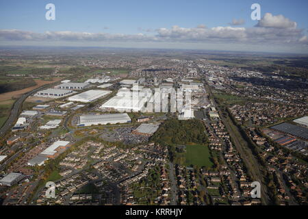 An aerial view of Burton upon Trent, a town in Staffordshire - Stock Photo