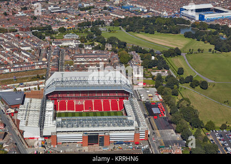 An aerial view of Liverpool showing Anfield in the foreground and Goodison Park in the background - Stock Photo