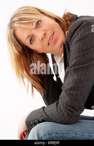 Blonde Frau, 25+, im Portrait - blond woman, 25+,  in portrait - Stock Photo