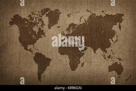 Brown world map on old vintage flax linen canvas - Stock Photo