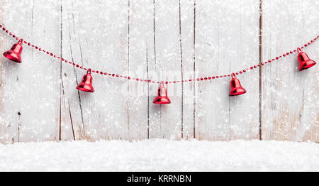 Christmas decoration background with snow - Stock Photo