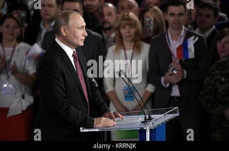 Russian President Vladimir Putin addresses the All-Russia People's Front movement kicking off his campaign for re - Stock Photo