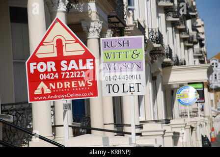 Estate agent For Sale and To Let signs in Warrior Square at St.Leonards-on-Sea in East Sussex, England on March - Stock Photo