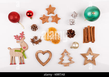 christmas decorations isolated on white background. top view - Stock Photo