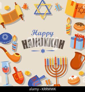 Happy Hanukkah typography card template. - Stock Photo