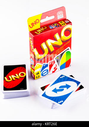 Tambov, Russian Federation - August 15, 2013 Two decks of UNO game cards with UNO game box on white background. - Stock Photo