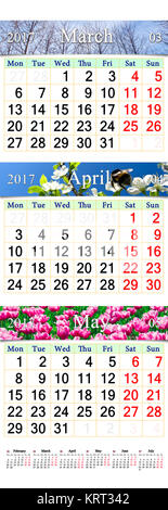 triple calendar for March April and May 2017 with pictures - Stock Photo