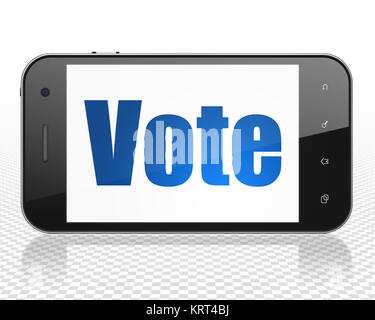 Politics concept: Smartphone with blue text Vote on display, 3D rendering - Stock Photo