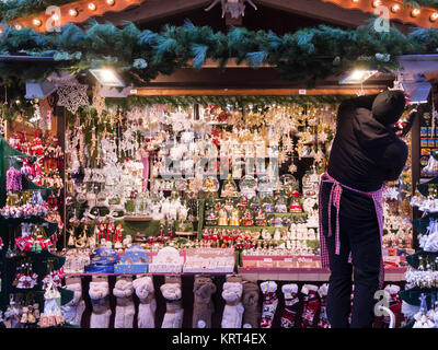 Attractive market stall selling Christmas baubles and tree decorations Munich Bavaria Germany EU - Stock Photo