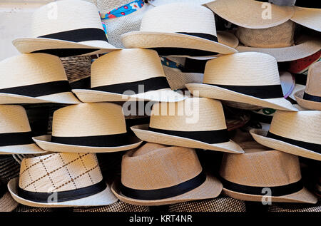 Panama hats sold on the street in Cartagena de Indias, Colombia. - Stock Photo