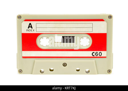 vintage audio tape on white background - Stock Photo