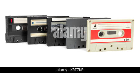 set of vintage audio tapes on white background - Stock Photo
