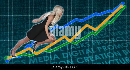 Racing to Success Business Executive Woman - Stock Photo