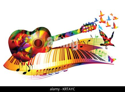 Colorful music background with guitar, piano keyboard, flying birds and music notes