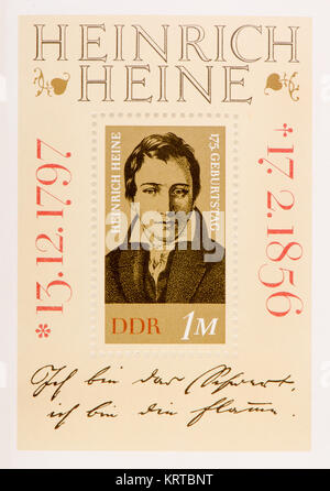 East German (DDR) postage stamp (1972): Heinrich Heine (1797 – 1856) German poet, journalist, essayist, and literary - Stock Photo