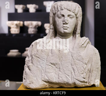 CORDOBA. SPAIN. - October 27, 2015: Ancient bust of a veiled woman, made of limestone. 2nd century BC. Archaeological - Stock Photo