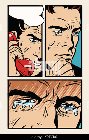 Comic storyboard man on the phone and cries - Stock Photo