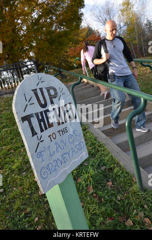 Steps to The Flavor Graveyard at Ben and Jerry's ice cream factory in Waterbury, Vermont USA - Stock Photo