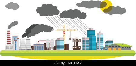 Flat city and industrial landscape. Environmental pollution the mills and factories located in the city. Vector - Stock Photo