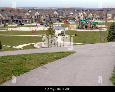 Timber and brick new home construction of single and semi-detached family homes in Ontario,Canada - Stock Photo